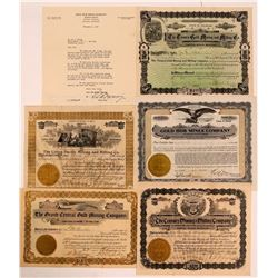 Five Different Identified Colorado Mining Stock Certificates   (107863)