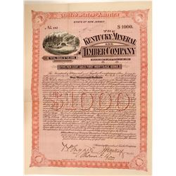 Kentucky Mineral & Timber Company Bond Certificate, 1892  (111329)