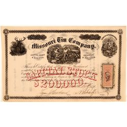 Missouri Tin Company Stock Certificate, 1871  (111328)