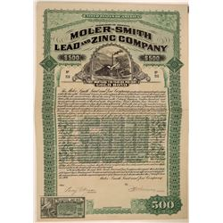 Moler-Smith Lead & Zinc Co $500 Bond Certificate, 1909  (111350)