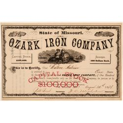 Ozark Iron Company Stock Certificate, Missouri, 1873  (111327)
