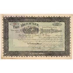 Milwaukee Mining Company Stock Certificate, Montana, 1891  (111362)
