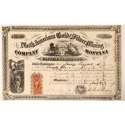 North American Gold & Silver Mining Co of Montana Stock, 1867  (112819)
