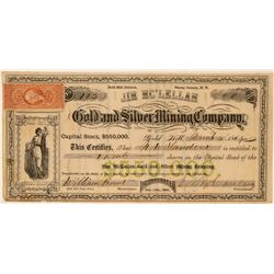 Jim Mc'Lellan Gold & Silver Mining Co Stock, Gold Hill, N.T. 1864  (111408)