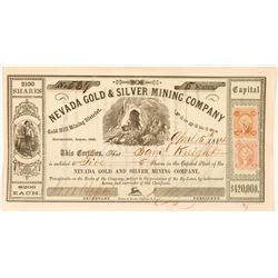 Nevada Gold & Silver Mining Company Stock, Gold Hill, N.T. 1864  (111376)