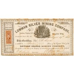 Lowman Silver Mining Company Stock, Virginia, N.T. 1863  (111399)