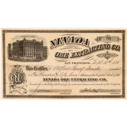 Nevada Ore Extracting Co Stock Certificate, 1875  (111358)