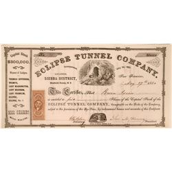 Eclipse Tunnel Company Stock Certificate, Humboldt County, Nevada Territory  (110927)