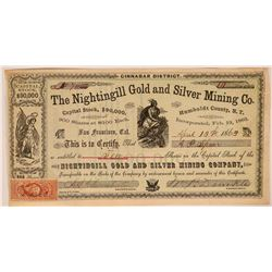 Nightingill Gold & Silver Mining Co. Stock, N.T. 1863  (112818)