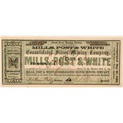 Mills, Post & White Cons. Silver Mining Co Stock, 1865  (111412)