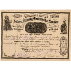 Morris & Cable Silver Mining Co. of Nevada Stock, Reese River, 1872  (111352)