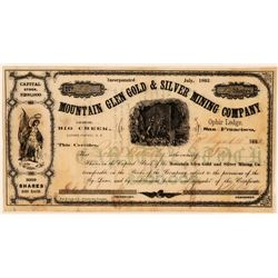 Mountain Glen Gold & Silver Mining Co Stock, Lander County, N.T. 1863  (111410)