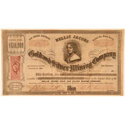 Nellie Jacobs Gold & Silver Mining Stock, Reese River, 1864- Rare  (111356)