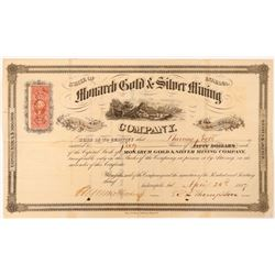 Monarch Gold & Silver Mining Co Stock, Nevada, 1867  (112822)