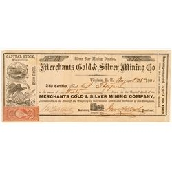 Merchants Gold & Silver Mining Co Territorial Stock, Mineral County, N.T. 1863  (111365)