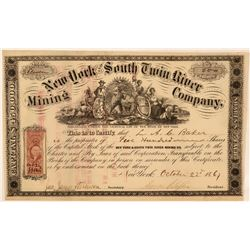 New York & South Twin River Mining Co Stock, Toiyable Range, Nevada, 1867  (111359)