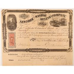 New York & Washoe Mining Co Stock Certificate, 1869  (112950)