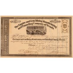 Empire & Gem Mining, Manufacturing & Tunneling Co. of Nevada Stock Certificate  (107434)