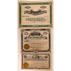 Three Good Nevada Mining Stock Certificates  (107842)