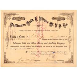 Baltimore Gold & Silver Mining & Smelting Co. Stock Certificate  (107776)