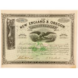 New England & Oregon Mining Company Stock, 1880  (111396)