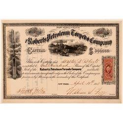 Roberts Petroleum Torpedo Company Stock Certificate  (107780)
