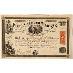 North American Mining Co Stock Certificate, Philadelphia, 1867  (112967)