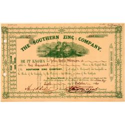 Southern Zinc Company Stock Certificate  (107775)