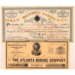 Utah Mining Stocks - Tow Nicer looking certificate  (110940)