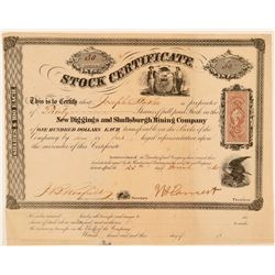 New Diggings & Shullsburgh Mining Co Stock, Wisconsin, 1865  (111406)