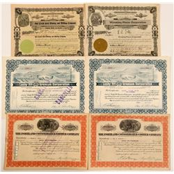 Wyoming Stock Certificate Group Includes a Certificate #1  (111001)