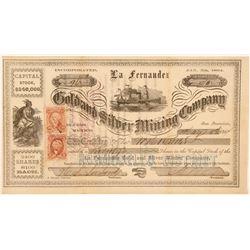 La Fernandez Gold & Silver Mining Stock, Sonora, Mexico, 1864  (111384)