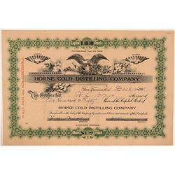 Horne Cold Distilling Company Stock Certificate  (107785)