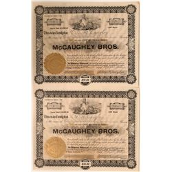UNIQUE McCaughey Bros. Stock Certificates NUMBER 1 and 2 issued to the brothers an signed by the bro