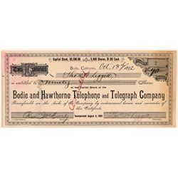 Bodie and Hawthorne Telephone and Telegraph Company - Number 2 signed by Founder Leggett  (110944)