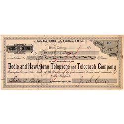 Bodie and Hawthorne Telephone and Telegraph Company - Signed by J. S. Cain  (110943)