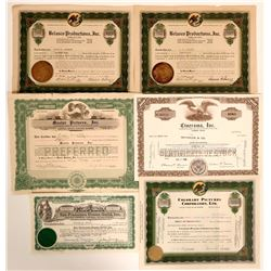 Hollywood, Cinema, Entertainment Stocks Certificates  (110925)