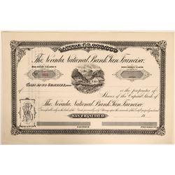 Rare Nevada National Bank of San Francisco - Important Comstock Bank  (110901)