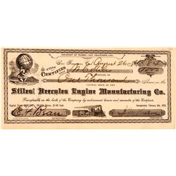 Stiles' Hercules Engine Manufacturing Company Stock Certificate  (107786)