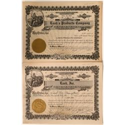 Two Different  Lash's Stock Certificates -   (110924)