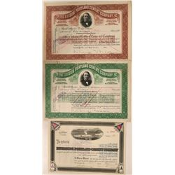 Three California Cement Company Stock Certificates with Interesting Vignettes  (110922)