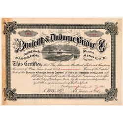 Dunleith & Dubuque Bridge Company Stock Certificate, 1890, Signed by Stuyvesant Fish  (111249)