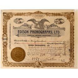 Edison Phonographs, Ltd. Stock Signed by Edison  (110204)