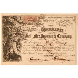Germania Fire Insurance Company Stock, New York, 1864  (111342)