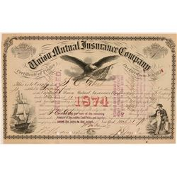 Union Mutual Insurance Company Stock, New York, 1878  (111334)