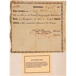 1811 Pennsylvania Wine Stock Certificate  (107804)