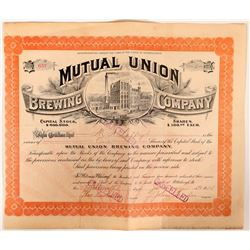 Mutual Union Brewing Co Stock, Pennsylvania, 1908  (112873)