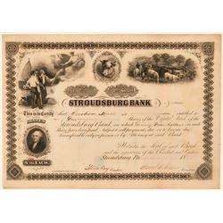 Stroudsburg Bank Stock Certificate, Pennsylvania, 1868  (111345)