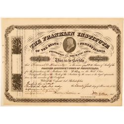 The Franklin Institute (PA) For the Promotion of the Mechanic Arts Certificate, 1865  (111330)