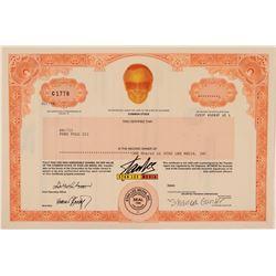 Stan Lee Media Stock Certificate  (112234)